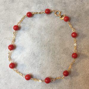 bracelet corail rouge et or 18kts