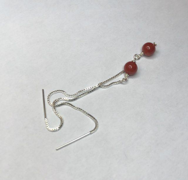 boucles d'oreilles boho chic perles 5mm sur chaine traversante