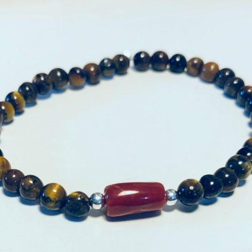 bracelet perles oeil de tigre et corail rouge sur elastique