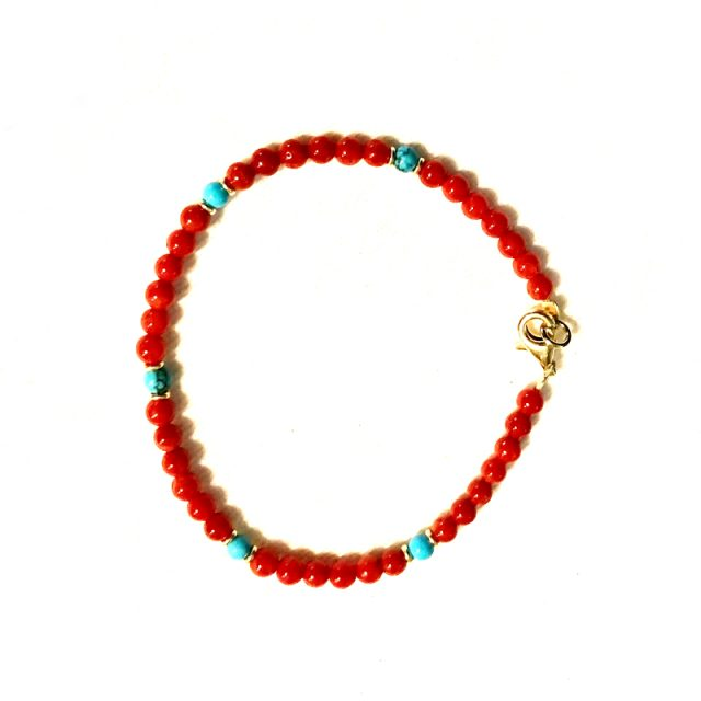 bracelet tethys corail et turquoise