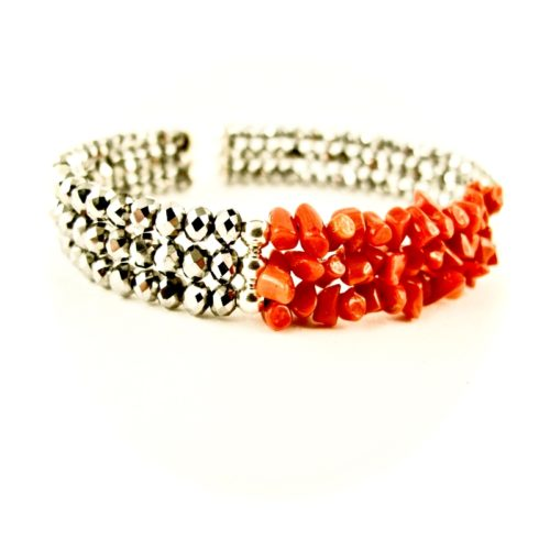 bracelet 3 rangs corail rouge et argent
