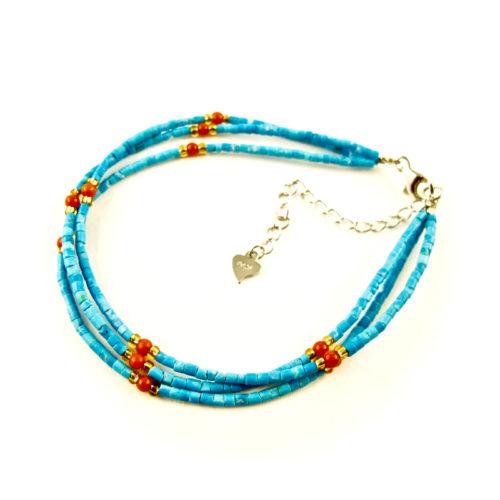 bracelet lhassa corail et turquoise