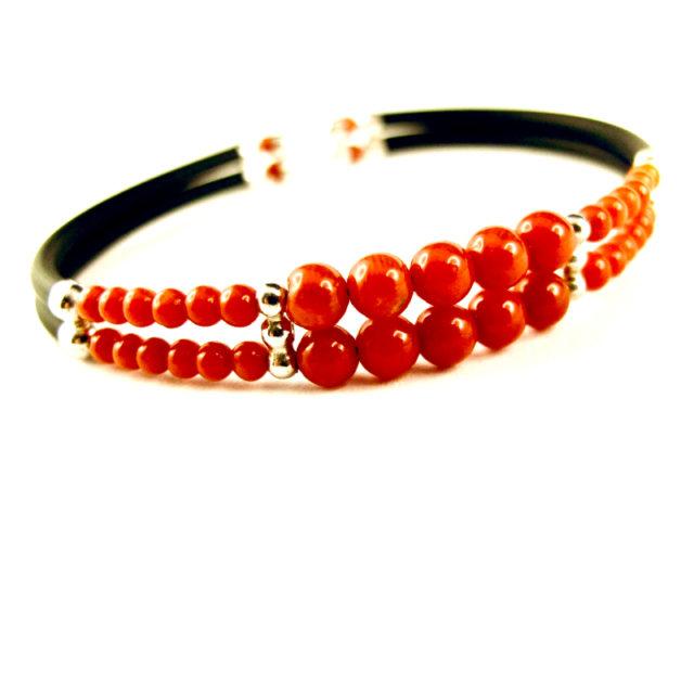bracelet double rang perles corail rouge