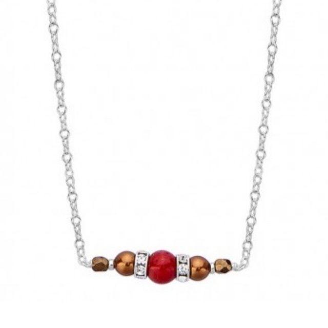 collier une perle de 5mm de véritable corail rouge de Méditerranée habillée de cristal de swarovski et perles d'hématite, montées sur chaine jaseron argent 925/1000