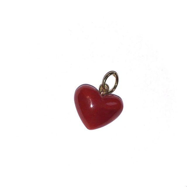 pendentif coeur rouge corail
