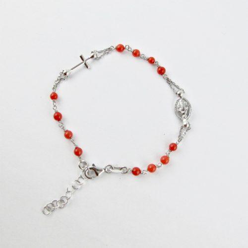 bracelet chapelet perles de corail rouge et argent massif