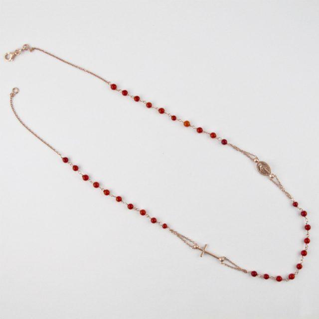collier-rosaire corail rouge et argent plaqué or rose