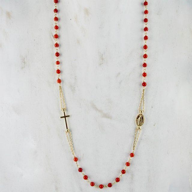 Collier rosaire en corail rouge de Bonifacio et argent plaqué or