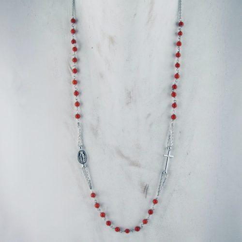 Collier rosaire en corail rouge de Bonifacio et argent