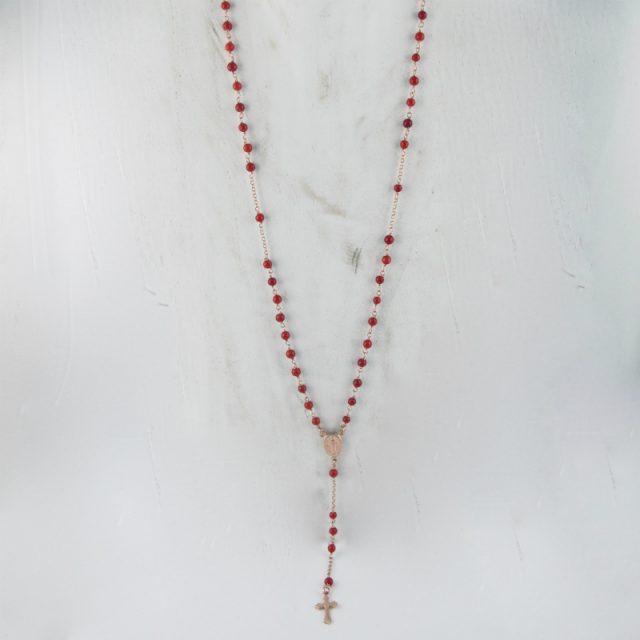 collier chapelet en corail rouge de Méditerranée et argent plaqué or rose