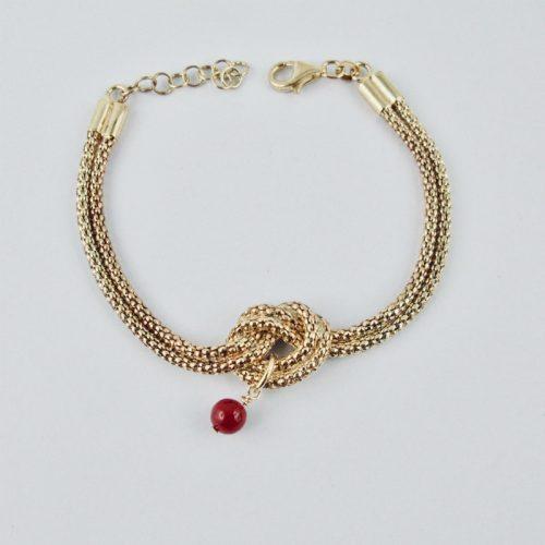 Bracelet double chaîne serpent en argent plaqué or 14 carats, nouée sur une perle 6 mm de véritable corail rouge de Méditerranée