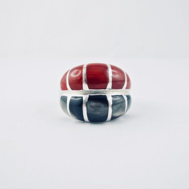 bague alliance duo corail rouge et nacre black lip, argent massif