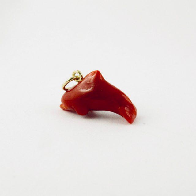 pendentif dauphin piccolino corail rouge et or