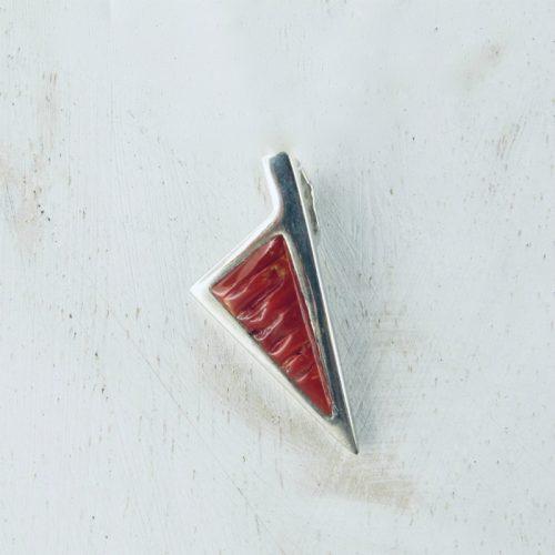 Pendentif corse stylisée corail rouge et argent massif