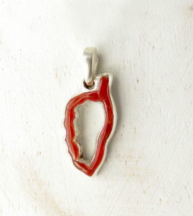 pendentif corse corail rouge et argent