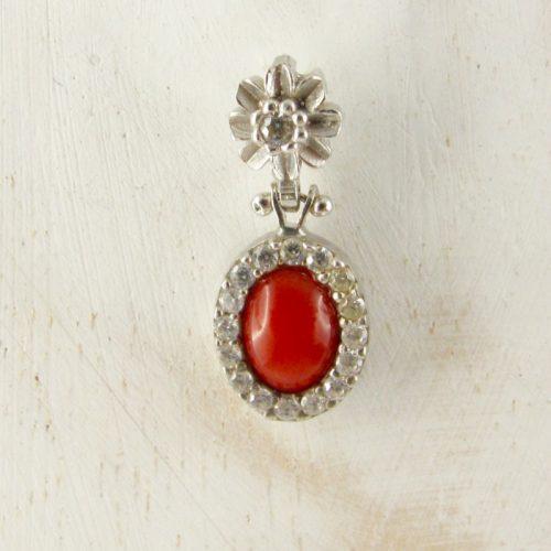 pendentif ovale en véritable corail rouge et argent 925/1000