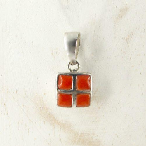 pendentif mosaik carré en véritable corail rouge et argent