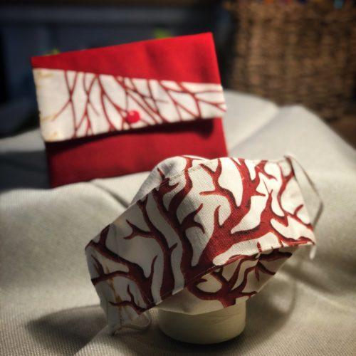 masque tissu barrière réutilisable imprimé corail