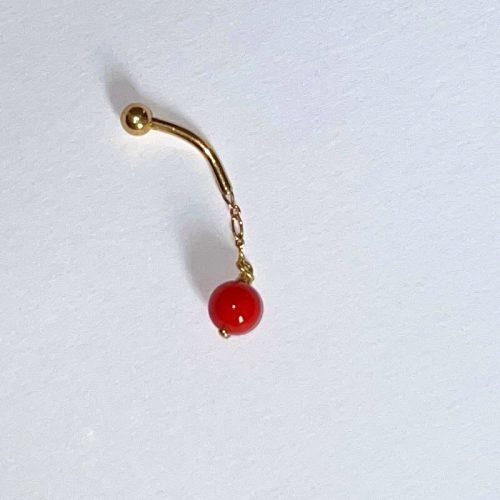 piercing or perle corail suspendue